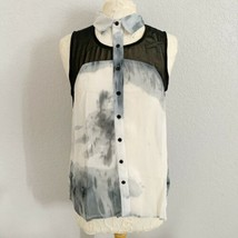 Verty Black Gray Tank Blouse Womens Large Collared Sheer  - $16.83