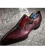 Handmade Monk Shoe For Men's Two-Tone Maroon Color Dress Shoes, Men Form... - $149.99+