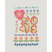 "My Quick Stitch Love Mini Counted Cross Stitch Craft Needlework Kit 5""X7"" 14 Ct - $7.60"