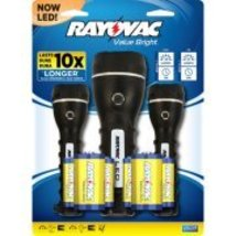 Rayovac LED 2D Rubber Flashlight, 3-Pack New Fr... - $18.00