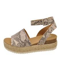 Soda TOPIC Beige Python Women's Platform Wedge Espadrille Sandals - $31.95+