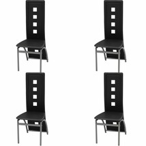 vidaXL Set of 4 High Back Dining Chairs Black Artificial Leather Kitchen... - $170.99
