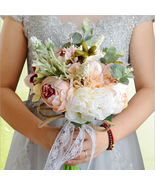 Handmade Artificial Roses Peony Lily Wedding Bouquet Bridal Holding Flowers - $68.99