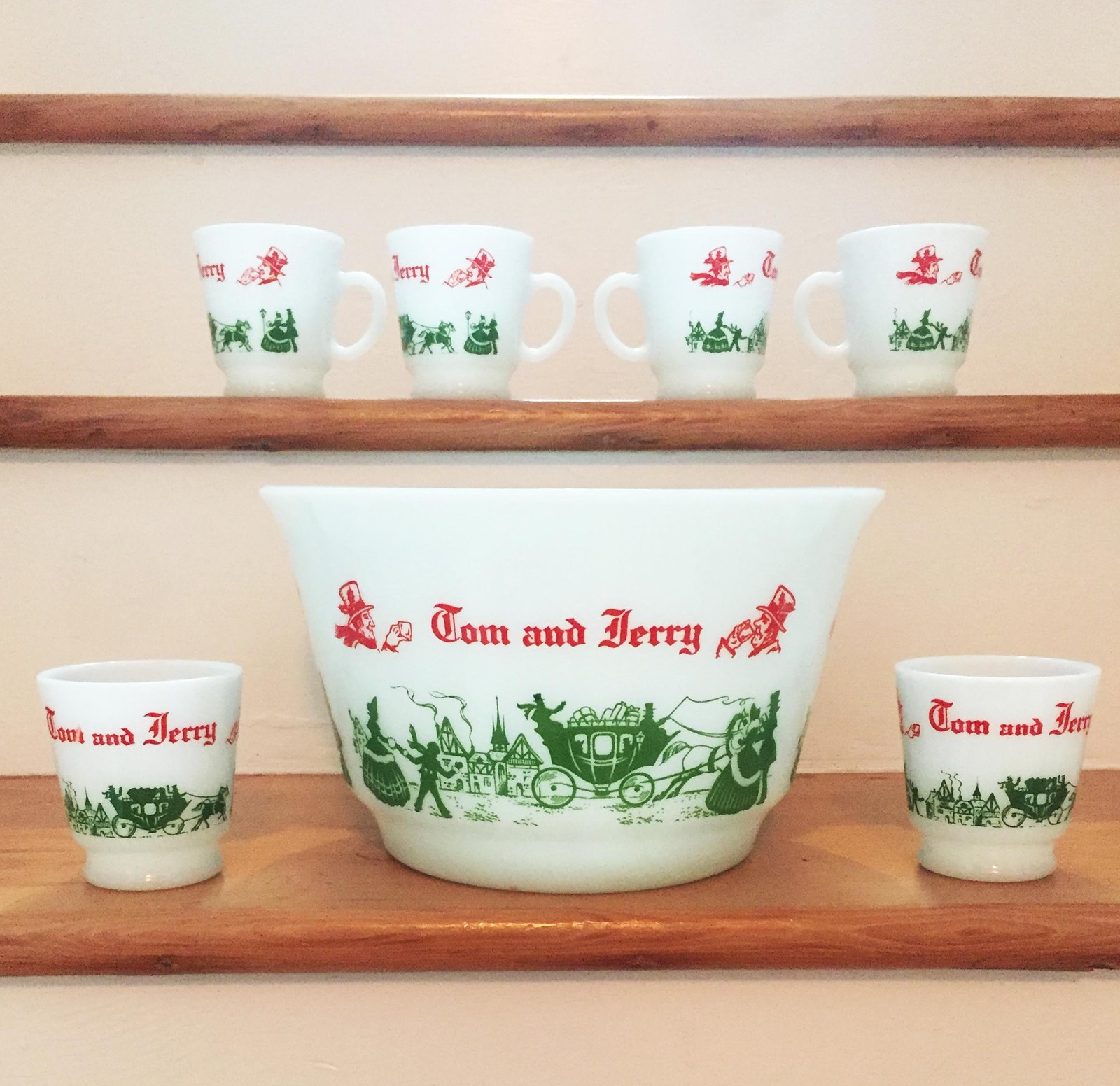 Vintage 50s Hazel Atlas Tom & Jerry/Eggnog Punchbowl Set