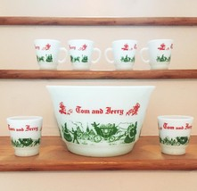 Vintage 50s Hazel Atlas Tom & Jerry/Eggnog Punchbowl Set image 1