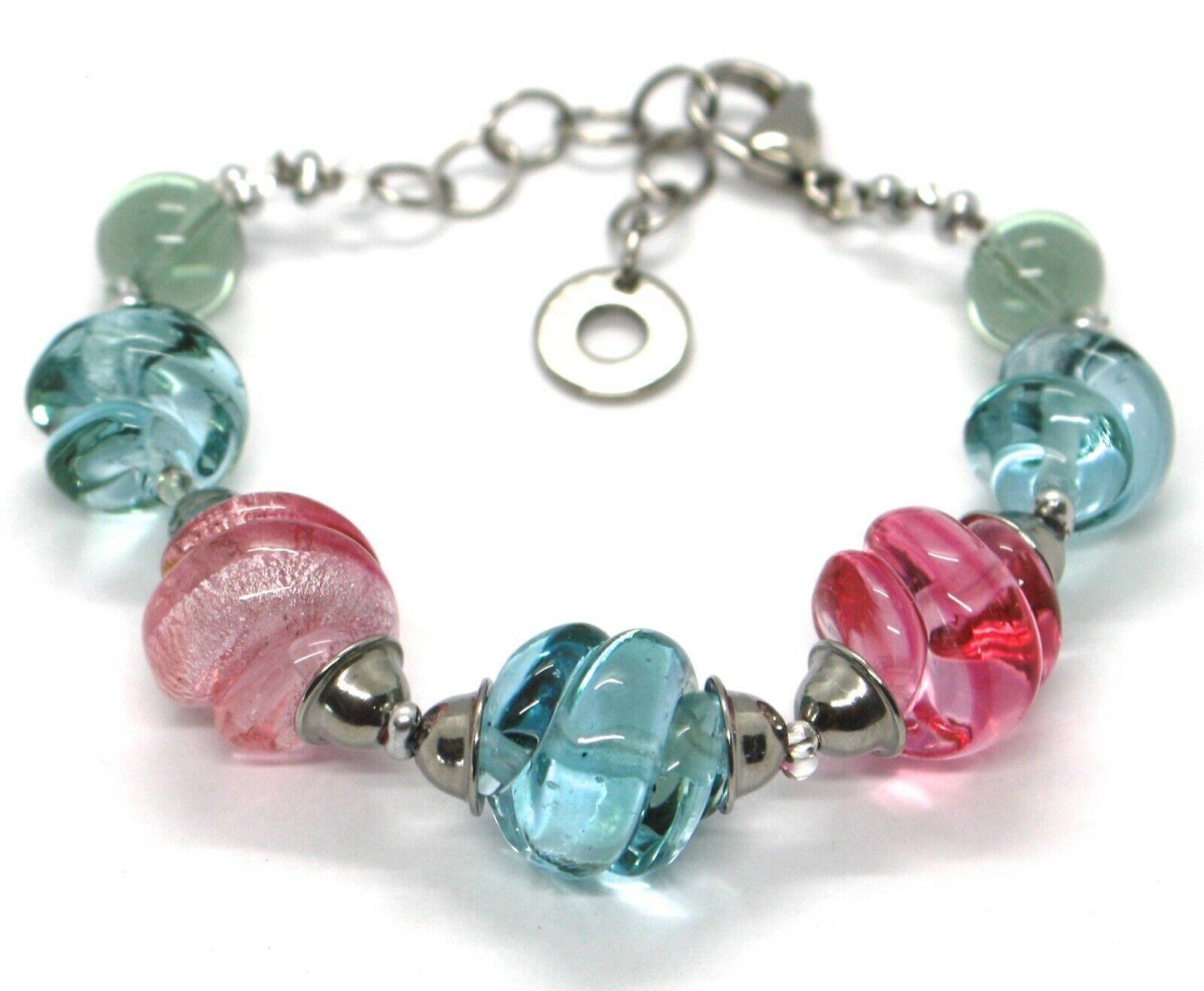 Bracelet Antica Murrina Venezia, Murano, Spheres Spiral,Pink,Light Blue