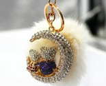 Sparky Crystal Rhinestones Lovers Bear and Moon Keychains Set with Rabbit Fur