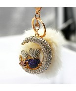 Sparky Crystal Rhinestones Lovers Bear and Moon Keychains Set with Rabbit Fur - €12,65 EUR