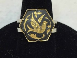 Ring Bird Damascene Dove Leaf Gold & Silver Tone Metal Adjustable Size V... - $9.89