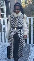 Rare Designer Full Length  white Sable /brown hue Blue fox Fur Coat Jack... - $1,099.99