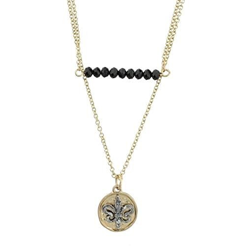 Worn Gold Two Row Black Bar and Fleur De Lis Charm Necklace [Jewelry]