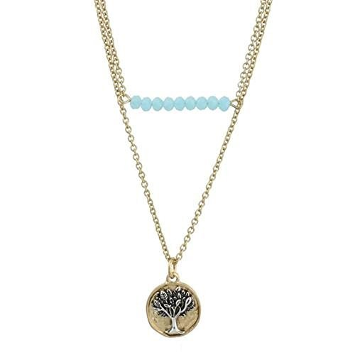 Worn Gold Two Row Aqua Bar and Tree of Life Charm Necklace [Jewelry]