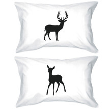Buck and Doe Couple Pillowcases Deer Pillow Covers Christmas Gifts for L... - $30.99