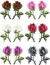 Roses flowers floral pair retro boho sew applique iron-on patch new your... - $3.29