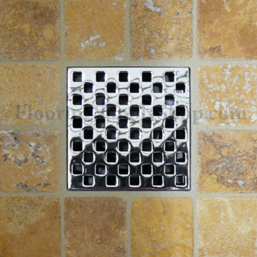 Ebbe Unique Square Shower Drain Weave Brushed Nickel