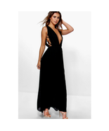 Boohoo Petite Mel All over pleated Strappy Side Maxi Dress Black US 4 NWT  - $39.99
