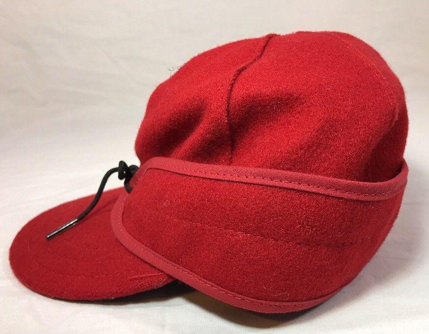 Stormy Kromer Cap Red Black Sz Wool Made in USA Hat Baseball Engineer 6 7/8 image 5
