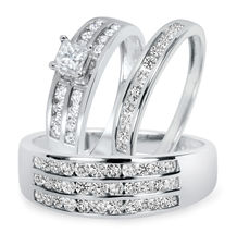 1/2 CT Round Sim Diamond Engagement Trio Ring Set In 14K White Gold Finishing - $182.27