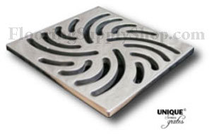 Ebbe Unique Square Shower Drain Brushed Nickel - Swirl
