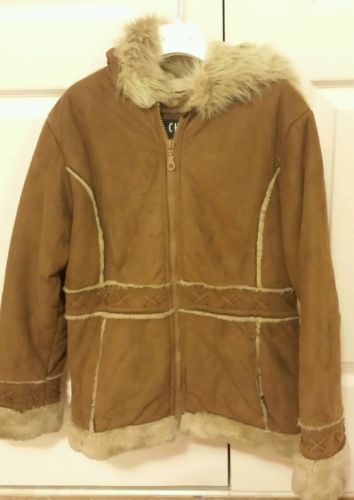 BIG CHILL Girls Brown Hooded Zipper Faux Suede Winter Coat Jacket Size  M 10 12