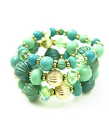 Turquoise Aqua Mint Ocean View Beaded Layered Bracelet Set - $27.00