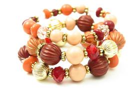 Pumpkin Spice Orange Gold Peach Beaded Layered Bracelet Set - $27.00