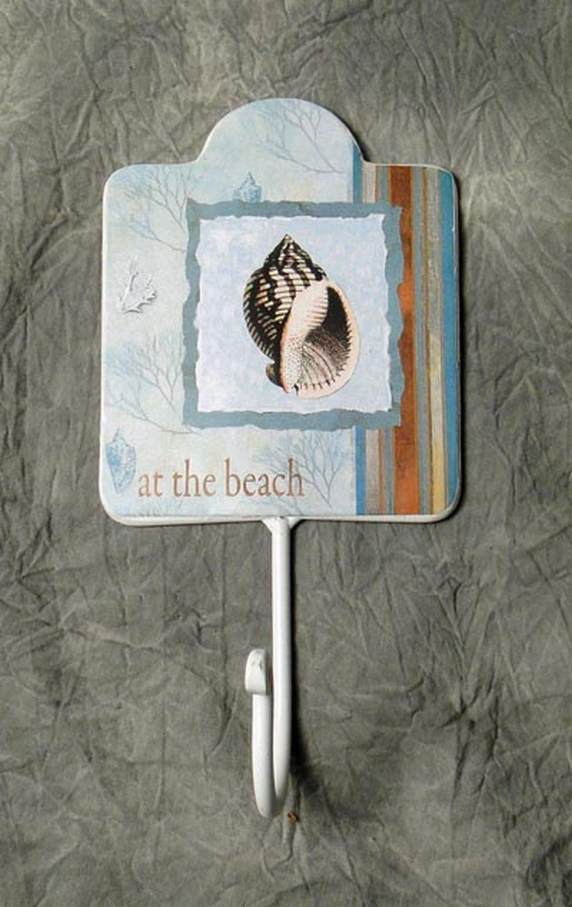 at the beach metal beach theme wall decor key hat hook metal nautical decor. Black Bedroom Furniture Sets. Home Design Ideas