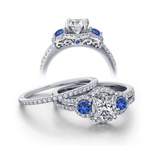 Art Deco Womens Wedding Bridal Ring Set 14k White Gold Finish 925 Solid Silver - $94.99