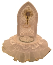 Communion Spun Glass Challis Cake Top with Lace Trim and Silk Flowers Al... - $19.95