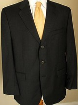 Ralph Lauren Blazer 44R Wool Blend Charcoal Gray Pinstripes 3 Buttons Ja... - $49.99
