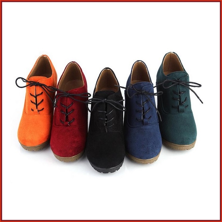 Autumn Suede Platform Wedge laced Oxfords Red Orange Green Navy or Black