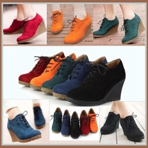 Autumn Suede Platform Wedge laced Oxfords Red Orange Green Navy or Black image 2