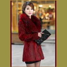 Sable Burgundy Full Pelt Faux Fur Med Coat Long Hair Faux Fur Fox Collar