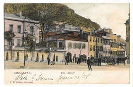 Gibraltar The Library Vintage Postcard V B Cumbo Tinted Color 1908 - $4.99