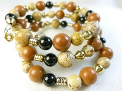 Picture jasper gold black onyx beaded bracelet memory wire wrap 1fb1e19b