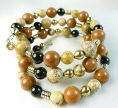 Picture jasper gold black onyx beaded bracelet memory wire wrap 745de091 thumb200
