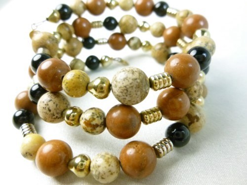 Picture Jasper Gold Black Onyx Beaded Bracelet Memory Wire Wrap Earth-Tones