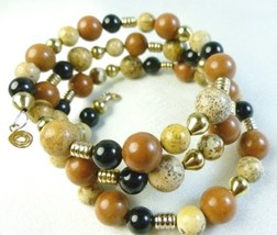 Picture jasper gold black onyx beaded bracelet memory wire wrap 073601f0 thumb200
