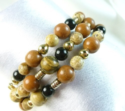 Picture_jasper_gold_black_onyx_beaded_bracelet_memory_wire_wrap_87302e4d