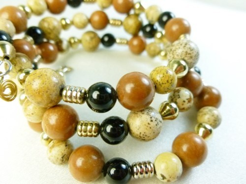 Picture_jasper_gold_black_onyx_beaded_bracelet_memory_wire_wrap_78233024