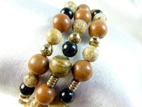 Picture_jasper_gold_black_onyx_beaded_bracelet_memory_wire_wrap_b5a2a997