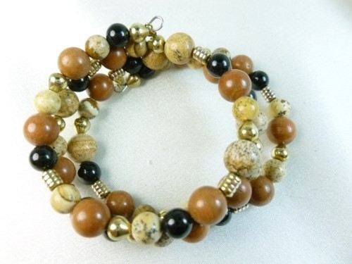 Picture_jasper_gold_black_onyx_beaded_bracelet_memory_wire_wrap_f47efde8