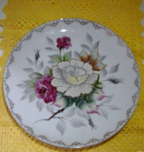 Vintage Large Decorative Floral Design Plate // Hand Painted Rose Plate - $8.50