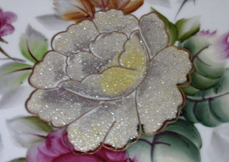 Vintage Large Decorative Floral Design Plate // Hand Painted Rose Plate