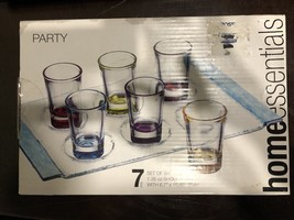 """Home Essentials Set of six Shooters & Tray """"Party"""" Shot glasses Multi Co... - $7.70"""