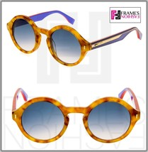 FENDI COLOR BLOCK FF0153S Light Havana Lilac Round Sunglasses 0153 Women - $206.91
