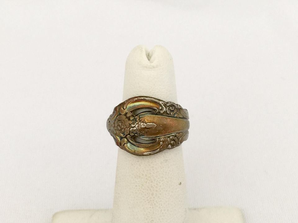 vintage jewelry silver tone spoon ring size 4 and 50