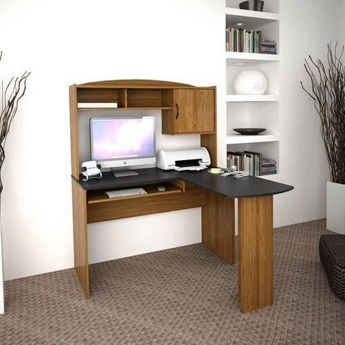 corner wood computer desk w hutch home office furniture black student