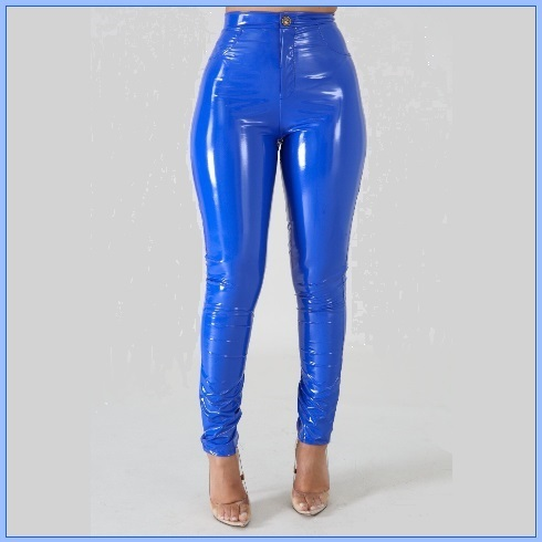 Bright Blue Tight Fit Faux Leather High Waist Front Zip Up Legging Pencil Pants