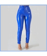 Bright Blue Tight Fit Faux Leather High Waist Front Zip Up Legging Penci... - $68.95